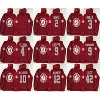 Wholesale Gold Cooper - Men hoodie Alabama Crimson Tide Hurts 2 Henry 3 Ridley 4 Yeldon Cooper 9 Scarbrough 10 Mccarron 12 Namath 42 Lacy red college football