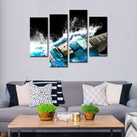 Wholesale musical paintings art online - 4 Panles Canvas Painting Guitar Paintings Wall Art Musical Instruments Print with Wooden Framed Music Pictures For Home Decor Ready to Hang