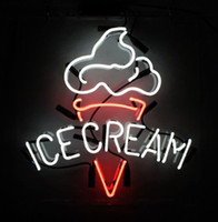 """Wholesale Beer Wall Light - ICE CREAM Real Glass Neon Light Sign Home Beer Bar Pub Recreation Room Game Room Windows Garage Wall Sign 17""""w * 14""""h"""