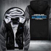 Wholesale 5xl Zip Hoodie - 2018 New Football Jacket Super Warm Thicken Fleece Zip Up Hoodie Men's Coat Free Shipping USA size plus size best NO.2 Grey