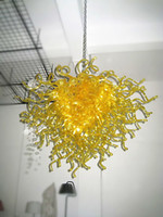 Wholesale Led Crystal Chandelier Lighting - yellow LED round chandelier hand made blown glass chandelier Crystal Chandelier Luminaire European Chandeliers wedding light