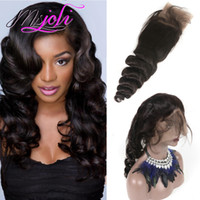 Wholesale Natural Wave Fashion - Peruvian virgin hair human hair weave 360 lace frontal pre plucked loose wave free part unprocessed hair new fashion 8 to 22 inches