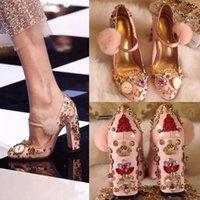 Wholesale Mary Jane High Heel Shoes - Women Shoes High Heel 2016 Rhinestones Rivets Luxury Brand Shoes Pink Mary Jane Pumps Fur Ball Catwalk Handmade Shoes