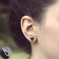 Wholesale western fashion for women - Pameng New fashion black Silver Color 3 western triangle round flash stud earrings for women gifts jewelry Gold Color