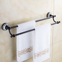 Wholesale Antique Bathroom Sets - Antique Bronze Bathroom Shelf CornerBrass 2 Pole Towel Hanger Set Rack Bar Luxury Wall Mount Holder Hook