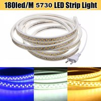Wholesale Super Bright Led Strip Waterproof - Super Bright 180LEDs M 110V 220V Led Strips Lights Waterproof IP67 5730 Led Strips White Shell + 50cm Power Wire Plug