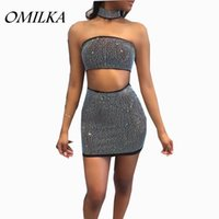Wholesale Strapless Bodycon - OMILKA 2017 Hot Summer Women Strapless Diamonds 2 Piece Dress Set Sexy Black White Zipper Crop Top Club Party Mini Bodycon Dress