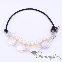 silber armband leder knebel großhandel-Süßwasser Perlen Armband Lederarmband mit Perlenschmuck Online Brautjungfernschmuck