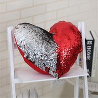 Wholesale Heart Pillow Cover - Mermaid Pillow Case Heart-shaped Sequins Two-tone 5 Design 35*40cm Rainbow Magic Ariel Cushion Cover Bling Paillette Car Sofa Pillow Cover