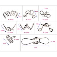 Wholesale Metal Wire Puzzles - Montessori Materials 8pcs set Metal Wire Puzzle Iq Mind Brain Teaser Puzzles Game For Adults And Kids 2 Style New Arrival