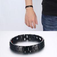 Wholesale Mens Stainless Steel Black Bracelets - Fashion Design Health Energy Bracelet Bangle Men Black Jewelry Stainless Steel Bio Magnetic Bracelet For Man Best Mens Gift B845S