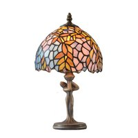 Wholesale Brown Glass Knobs - Table lamp Leaves tiffany style lamp table light colorful lampshade tiffany factory