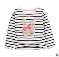 Wholesale Rabbit Tee Shirt - Girls T-shirt fashion kids cute rabbit printed princess tops children bows stripe long sleeve tees girl stretch knitting pullover T4521