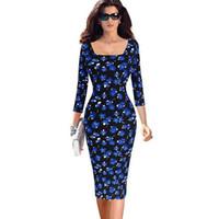 Wholesale Pinup Mini Dress - Womens Elegant Vintage Sexy Colored Stripe Print Slim Pinup Casual Spring Party Pencil Dress Plus Size 4XL 5XL