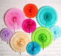 ausschwärmen großhandel-Tissue Paper Cut-Out-Papier Fans Pinwheels Hängende Blume Papier Handwerk für Duschen Hochzeit Party Geburtstag Festival