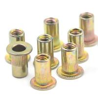 Wholesale Flat Head Nuts - Wholesale- 100pcs M3 Rivet Nut Flat Head Threaded Multi Blind Rivnut Insert Nutsert Steel