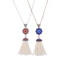 Wholesale Elegant Vintage Necklaces Chain - Fashion Bohemia Pearl Pendant Necklace Blue Red Rhinestone Flower With Tassel Pearl Long Necklaces Elegant Women Vintage Necklace