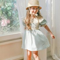 Wholesale Doll Lolita - Girls dresses children embroidery lace puff sleeve princess dress fresh style girls falbala doll dress 2017 summer new kids clothes T2536