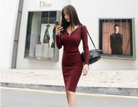 Wholesale Thin Knee Length Dress - 2017 Autumn new Korean gorgeous base coat thin zipper hooded turtles dark striped knit dress