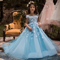 Wholesale Ice Pink Wedding Dress - Ice Blue Sheer Neck Flower Girl Dresses For Wedding White Flora Appliques Girls Pageant Gowns Hollow Back Children Birthday Party Dress