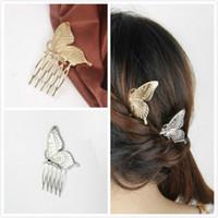 ingrosso pettine d'argento d'argento vintage-Pettini per capelli farfalla vintage placcato argento / oro, fermagli per capelli moda per le donne