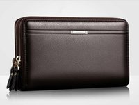 Wholesale Wallet Men Leather Large - Business Men Wallets Long PU Men's Leather Cell Phone Clutch Purse Handy Bag Black Top Zipper Large Wallet