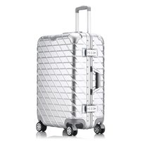 Wholesale Aluminum Luggage Cases - 24 inch suitcase Aluminum frame&drawbars&PC TSA Scratch resistant travel trolley case rolling luggage bags suitcase with wheels