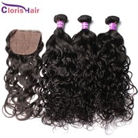 Wholesale Cheapest Machine - Peruvian Hair Water Wave Silk Base Closure With Bundles 4pcs 100% Cheapest Human Hair Weaves Closure Natural Curly