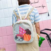 Wholesale Harajuku Bags Shoulder - 50pcs lot Candy Transparent Cat Ears Backpacks Harajuku School Backpack Shoulder Bags Teenager Girls Daily School Bag