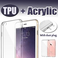 Wholesale Iphone 5s Tpu Bumper Case - Slim Crystal Case Transparent Clear Hard Back Acrylic+TPU Soft Bumper Dust Plug Dual Layer Protective Cover For iPhone 8 7 Plus 6 6s SE 5S 5