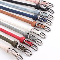 Wholesale Conveyor Automatic - New desinger belts buckle dress belts for women fluorescent color Weave conveyor thin waist belt ladys leather belt muti colors D067