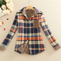 Wholesale Korean Office Wear - Flannel Plaid Shirt Women 2016 Winter Long Sleeve Casual Female Blouse Korean Fashion Checked Ladies Office Shirts Work Wear