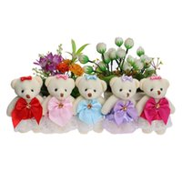 Wholesale Material Flowers For Dresses - Flower Bouquets Material Plush Toys Cute Mini Model Lace Dress Bow Teddy Toy Mixed 5 Colors For Wedding Home Decoration Dolls