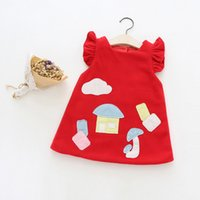 Wholesale Baby Kids Clothes Designer Red - Fashion Baby Girls Dresses Clothes Thick Cotton Sleeveless Party Vintage Designer Tutu Dresses Spring Fall Kid Clothing Dresses B046