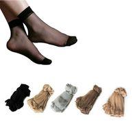 medias de nylon calcetines al por mayor-Calcetines de seda cristalinos transparentes ultrafinos atractivos al por mayor del verano al por mayor para los calcetines cortos de nylon negros elásticos altos de las mujeres calcetines femeninos #M