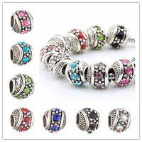 bolas de diamantes de imitación de 12 mm al por mayor-Chapado en plata de cristal perlas sueltas encantos fit europeo encanto europeo diy de lujo joyería de las mujeres pulsera necklace