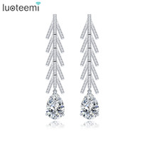 Wholesale Crystal Earrings Single - LUOTEEMI Romantic Bridal Long Earrings Micro Poved Tiny CZ with Single Waterdrop Crystal Brincos for Women Wedding Jewelry Gift