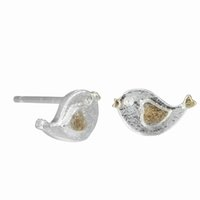 5 pares / lote Personality Cute Animal 925 Sterling Silver Jewelry Brushed Bird em forma de coração Stud Earrings Wholesale