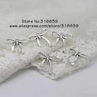 Wholesale Metal Alloy Bows For Jewelry - Wholesale-Bowknot Charm Antique Silver Metal Zinc Alloy Trendy Jewelry Bow Charms Pendant For Women 24*25mm 40pcs 7695