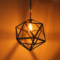 Wholesale cage black metal pendant light - Industrial Edison Hanging Porch lighting industrial lighting minimalist sputnik lamps Large Size Art Deco Cage Lamp Guard Metal