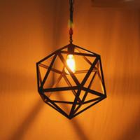 edison cage achat en gros de-Industriel Edison Hanging Porch éclairage industriel éclairage minimaliste lampes spoutnik grande taille Art Deco Cage Lampe Garde Métal