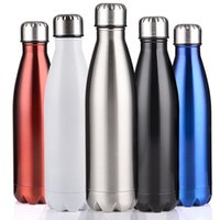 Wholesale Stainless Steel Bowls Lids - 500ml 17oz Cola Shaped Water Bottle 500ml Double Wall Stainless Steel Vacuum Stainless Steel Coke Water Bowling Bottles 170822