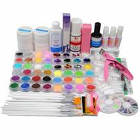 Wholesale Uv Gel Brush Cleanser - Wholesale- UV Gel Nail Art Kits Manicure UV Gel Nail Primer Glitter Powders Dust Tips Glues Rhinestone Brush Cleanser for Manicure Nail Set