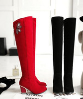 Wholesale Plastic Bow Charms - Wholesale New Arrival Hot Sale Specials Super Fashion Influx Sweet Girl Sexy Large Size Diamond Bow Flower Zip Heels Knee Boots EU34-43