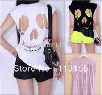 Wholesale Skull Womens Shirts - Wholesale-2016 NEW WOMEN'S LADIES SLEEVELESS LONG CUT OUT BACK SKULL T SHIRT WOMENS TOP Sexy t-shirts