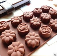 Wholesale Silicone Rose Mold 15 - 15 Cavity Silicone Flower Rose Chocolate Mold Cake Soap Candy DIY Fondant Mould Kitchen Tools Accessories Baking Moulds 479