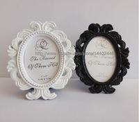 Wholesale Black White Place Cards - 50pcs legant Elliptical Baroque European Resin Place Card Holder Wedding Party Gift Favor Photo Frame favor Black White