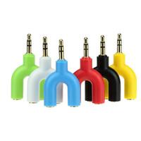 nuevo tipo de auriculares al por mayor-Nuevo Tipo de U Y Jack 3.5mm A Dual 3.5mm AUX Cable Auriculares Seprator Macho a Hembra Estéreo Adaptador de Audio Auriculares Splitter