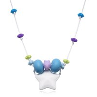Cute Star Pendentif Collier Grade alimentaire BPA sans silicone Collier Dents pour bébés Chewing Bijoux Candy Colors Baby Toys Jewelry Girl Fashion