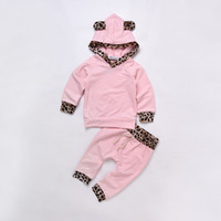 Wholesale Girls Clothing Leopard Print - Baby Girls Leopard Print Clothing Set Hoodies Pants Kids Outfit Toddler Tracksuit Newborn Cotton Long Sleeve Children Costume Clothes